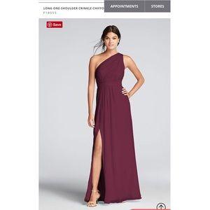 Long One-Shoulder Crinkle Chiffon Dress size 4
